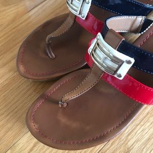 TOMMY HILFIGER  Brown Thong Wedges Size 8